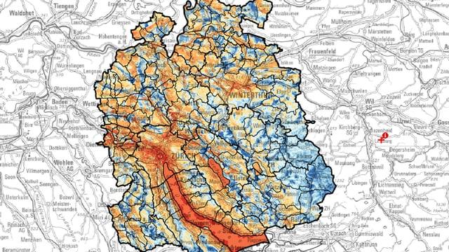 Klimaanalysekarte des Kantons Zürich