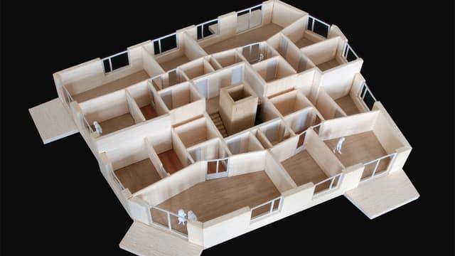 Ein Holzmodell zeigt die Wohnungen für MCS-Betroffene in dem neuen Gebäude in Zürich.