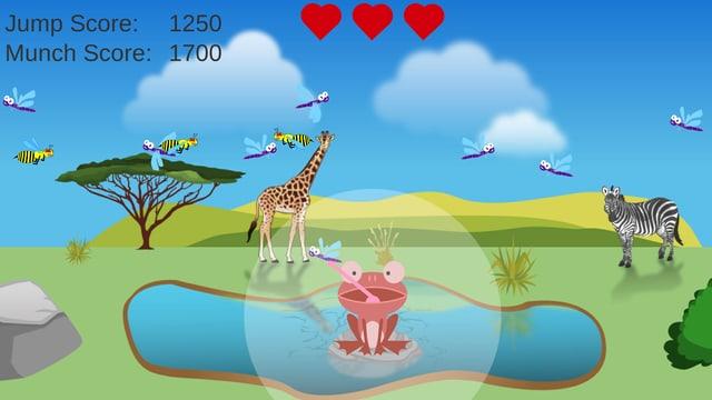 Bildschirmoberfläche mit dem Videospiel. Ein Frosch schnappt gerade eine der Libellen.