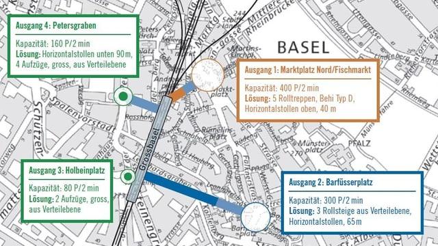 Die Karte zeigt, wie unterirdische S-Bahn-Stationen in der Innenstadt erschlossen werden könnten.