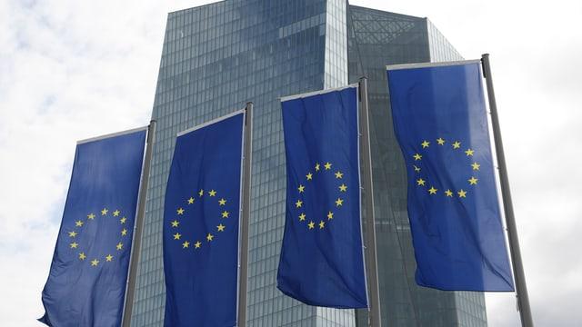 EZB-Sitz in Frankfurt mit Europafahnen.