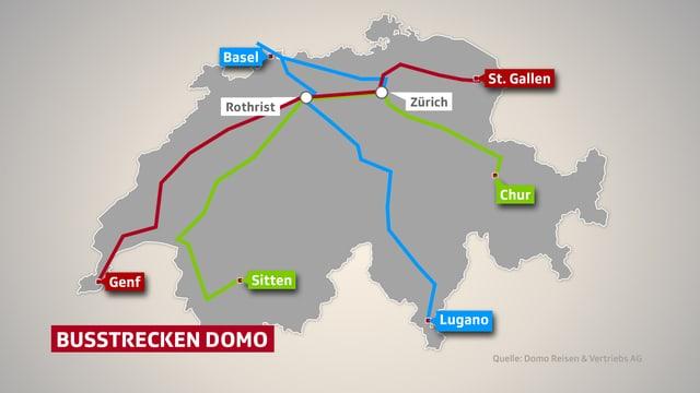 Quer durch die Schweiz werden die Fernbusse ab März fahren.
