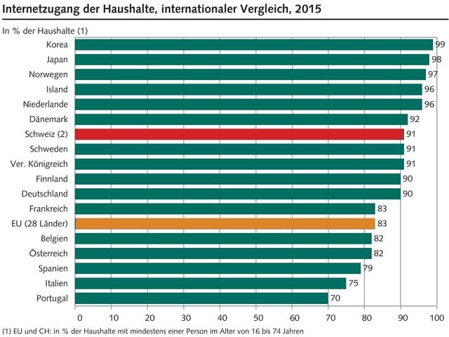 91 Prozent der Schweizer Haushalte haben einen Internetzugang. Das ist Nach Korea, Japan, Norwegen, Irland, den Niederlanden und Dänemark Platz 7.