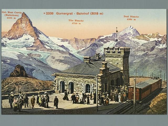 eine farbige Illustration eines kleinen Bahnhofs, mit Menschen, die aus dem Zug steigen. Im Hintergrund: Das Matterhorn