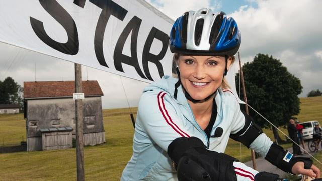 Sonja Nef 2006: sportlich unterwegs, mal nicht auf den Skiern.