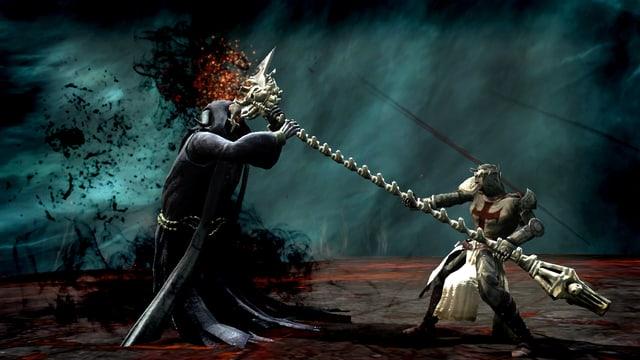 Ein Ritter bekämpft eine dunkle Gestalt mir einem Stab aus Knochen.