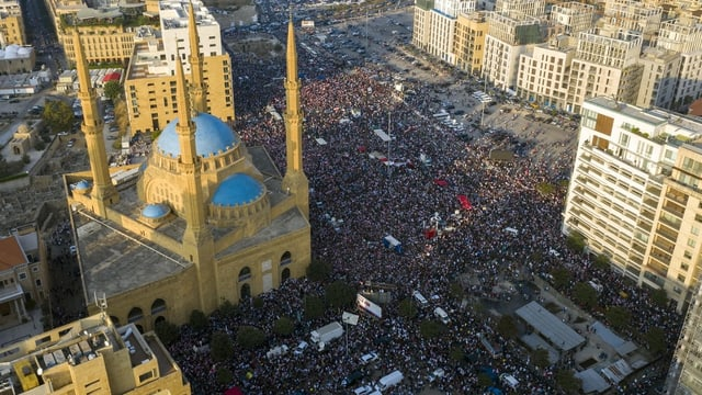 Luftaufnahme der Proteste in Libanon