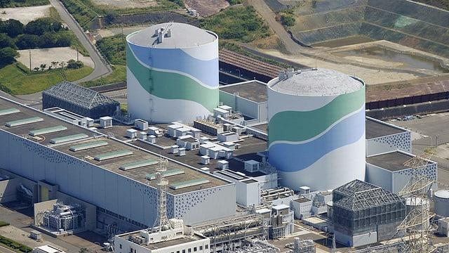 Vista ord l'aria sin l'ovra atomara Sendai a Satsumasendai en la prefectura Kagoshima.
