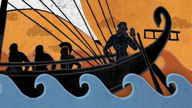 Eine Animationssequenz zeigt Odysseus auf einem Schiff.