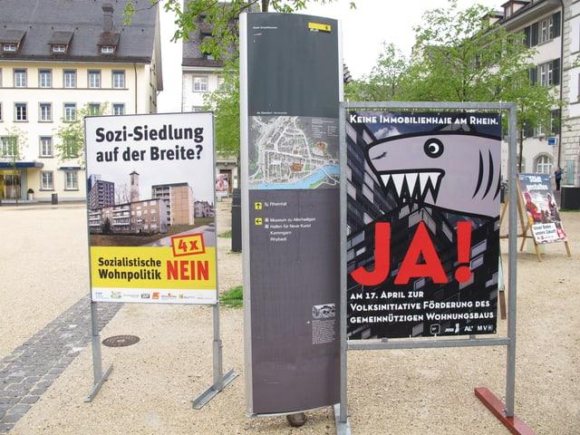 Plakate zu den Initiativen in der Satdt Schaffhausen.