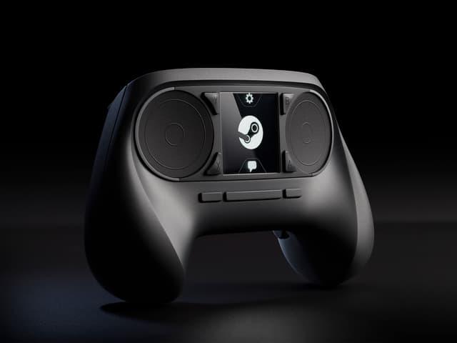 Ein schwarzer Game-Controller vor schwarzem Hintergrund, in der Mitte des Controllers ein Touchscreen.