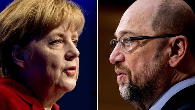 purtret d'Angela Merkel (san.) e da Martin Schulz (dre.)