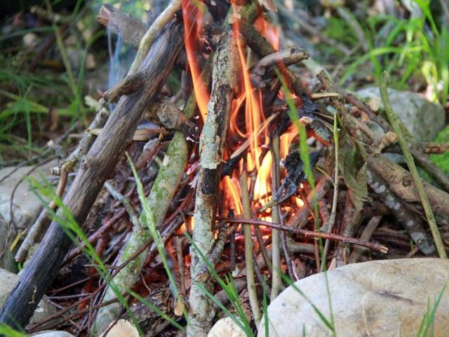 Ein paat Äste brennen, Steine um das Feuer.