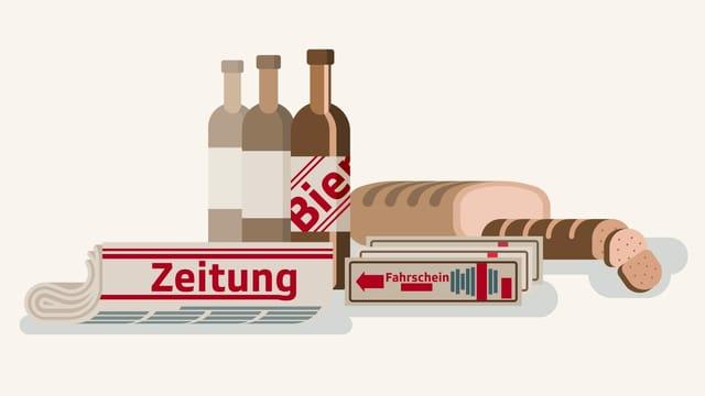 Grafik mit Zeitung, Brot, Bier, Wurst