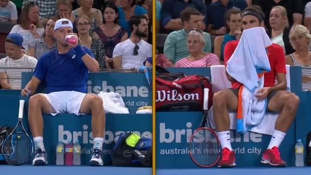 James Duckworth und Roger Federer.