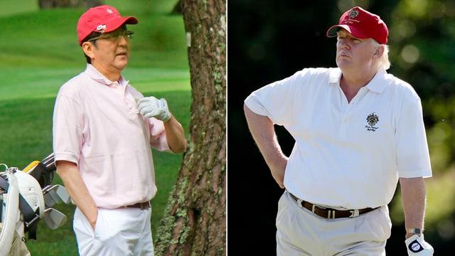 Japans Ministerpräsident Shinzo ABe und US-Präsident Donald Trump in Golfkleidung.