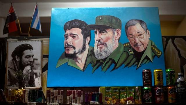 Zeichnung mit Che Guevara, Fidel Castro und Raul Castro.