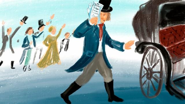 Illustration: Beethoven geht auf eine Kutsche zu, hinter ihm eine jubeldne Menge