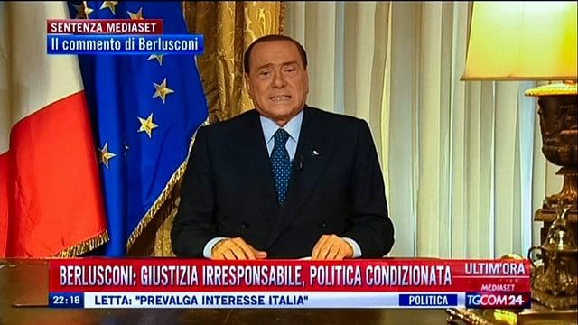 Ex-Premier Silvio Berlusconi nach dem letztinstanzlichen Urteil im TV.
