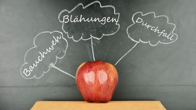 Apfel vor Schiefertafel, auf der «Bauchweh», «Blähungen» und «Durchfall» steht