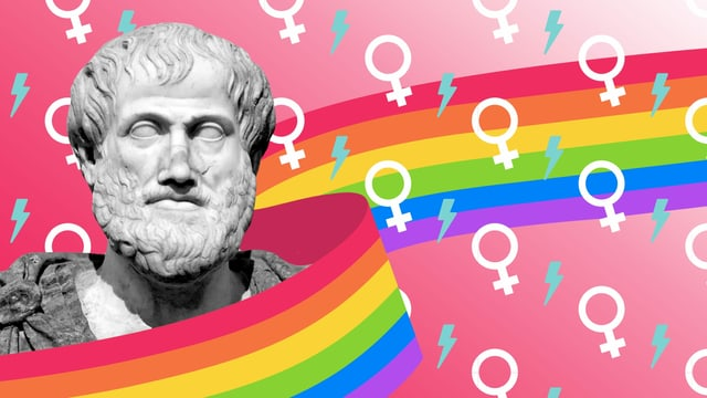 Eine Bildmontage mit einer Büste von Aristoteles und Gendersymbolen und einem Regenbogen.