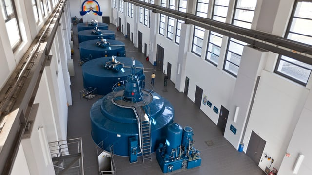 Turbinen im Wasserkraftwerk in Gösgen.