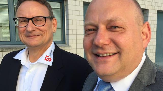 Der Ammann von Killwangen, (l.) Werner Scherer, und der Gemeindepräsident von Spreitenbach, Valentin Schmid.