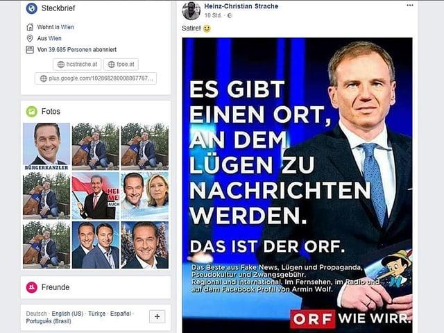 Straches Facebook-Eintrag