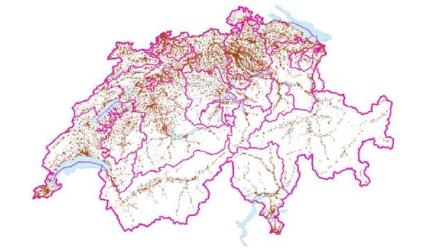 Schweiz-Karte mit markierten Standorten