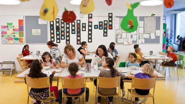 Kinder sitzen mit zwei Betreuerinnen an einem Tisch.