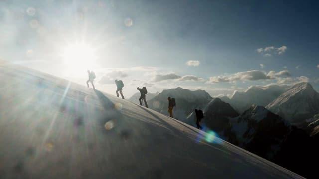 Fünf Bergsteiger beim Aufstieg gehen über ein Schneefeld im Hintergrund ein Bergpanorama