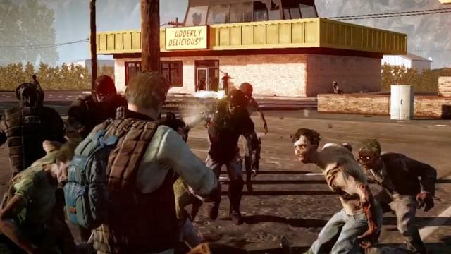 Ein Mann schiesst mit einem Gewehr auf eine Zombie-Horde