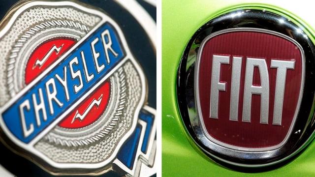Namensschilder von Chrysler und Fiat