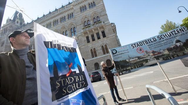 Eine Demonstration gegen den geplanten Bau.