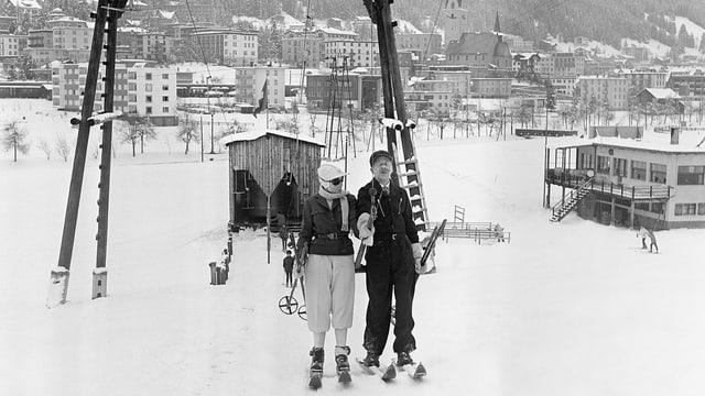 Der erste Skilift in Davos