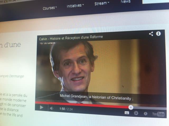 Screenshot: Michel Grandjean in einem Video über seine Vorlesung zu Calvin.