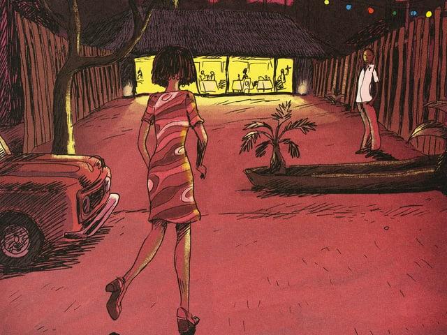 Comic: Eine Frau geht auf eine hell erleuchtete Hütte zu, vauf halbem Weg steht ein Mann, der sie erwartet.