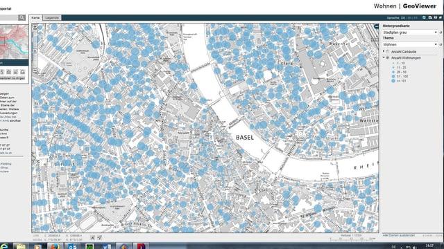 Stadtplan mit blauen Punkten