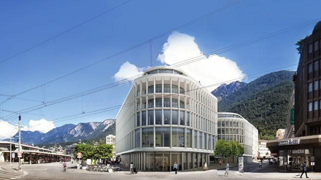 Das Neubauprojekt am Bahnhofplatz Chur in einer Visualisierung.