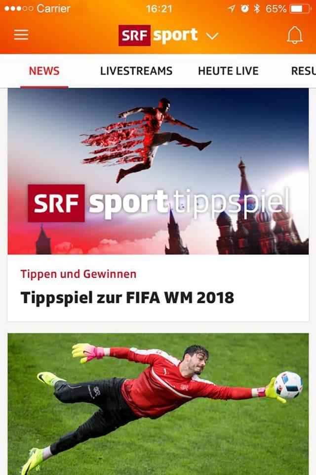 Ein Screenshot der SRF Sportapp