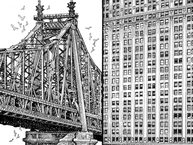 Vier Zeichnungen von Gebäuden und einer Brücke.