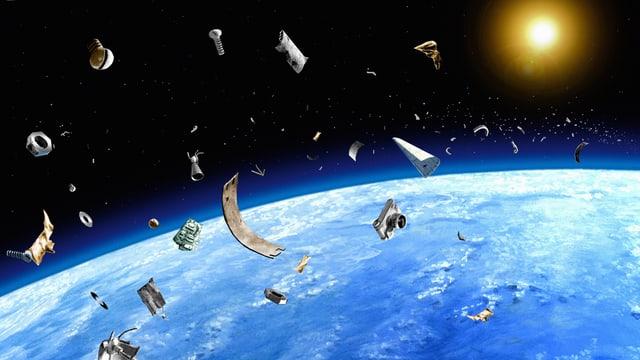Illustration: Weltraum-Schrott kreist über der Erde