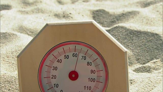 Während des Sechzehntelfinals von Hüberli/Betschart hatte der Sand eine Temperatur von 64 Grad.