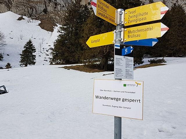 Wanderwegweiser im Obertoggenburg.