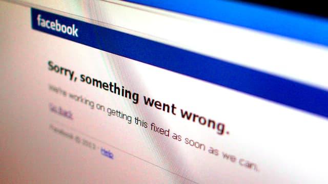 Fehlermeldung auf der Website von Facebook