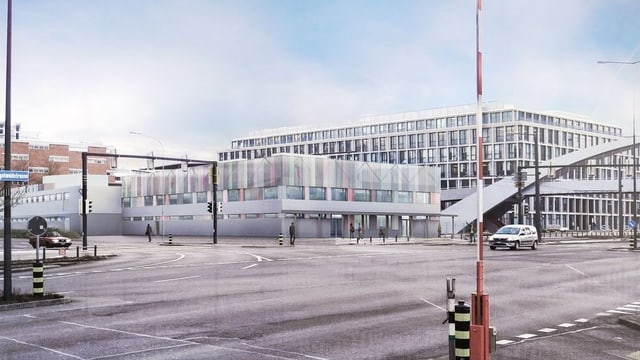 Visualisierung des geplanten Bundesasylzentrums auf dem Duttweilerareal in Zürich-West