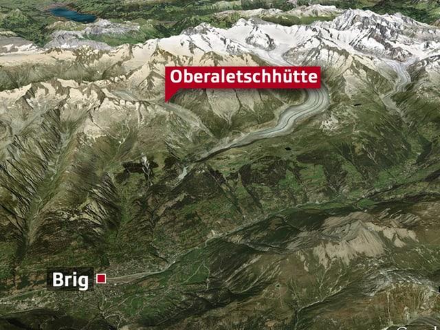 Übersichtskarte Oberaletschhütte.