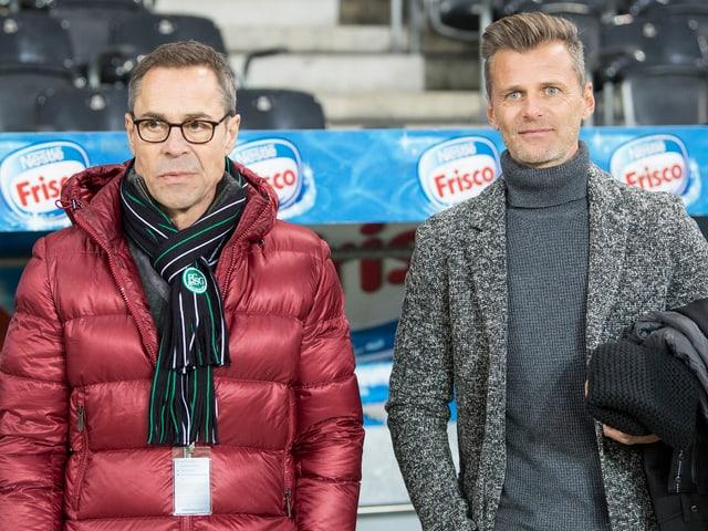 Hüppi und Sutter am Samstag im Stade de Suisse.