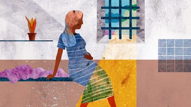 Illustration: Eine schwangere Frau im Gefängnis.