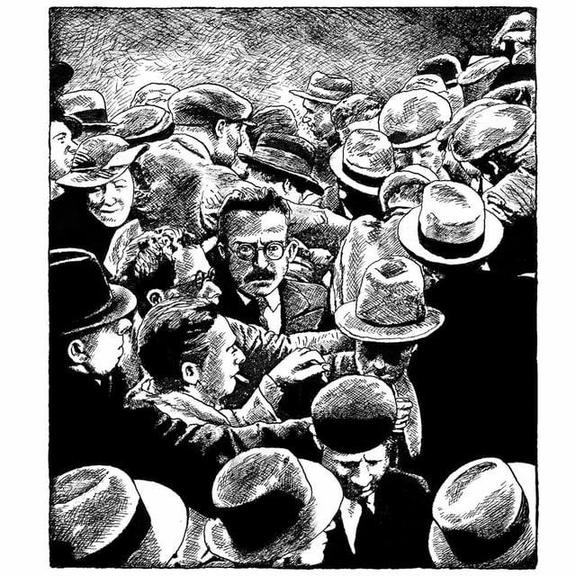 Schwarzweiss-Zeichnung: Ein Mann mitten in einer Menschenmenge